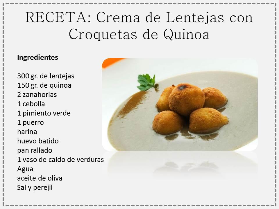 Crema De Lenjetas Con Croquetas De Quinoa Receta Con Propiedades