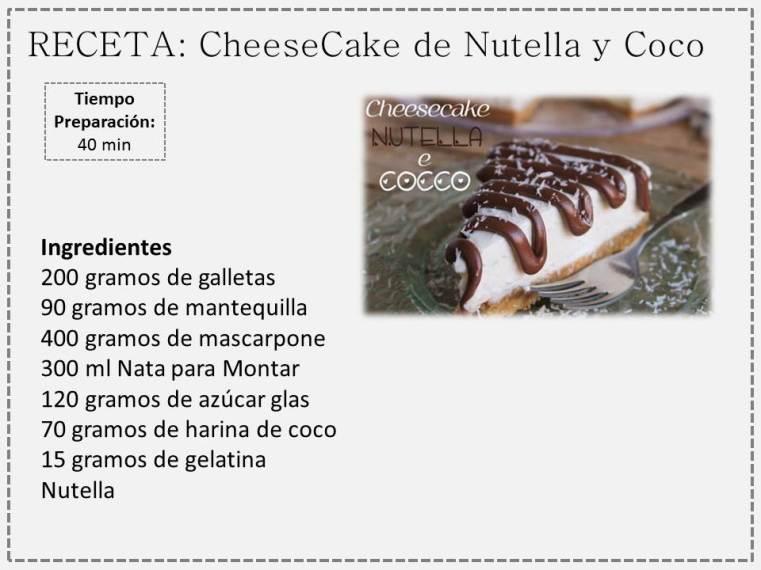 nutella y coco cheesecake