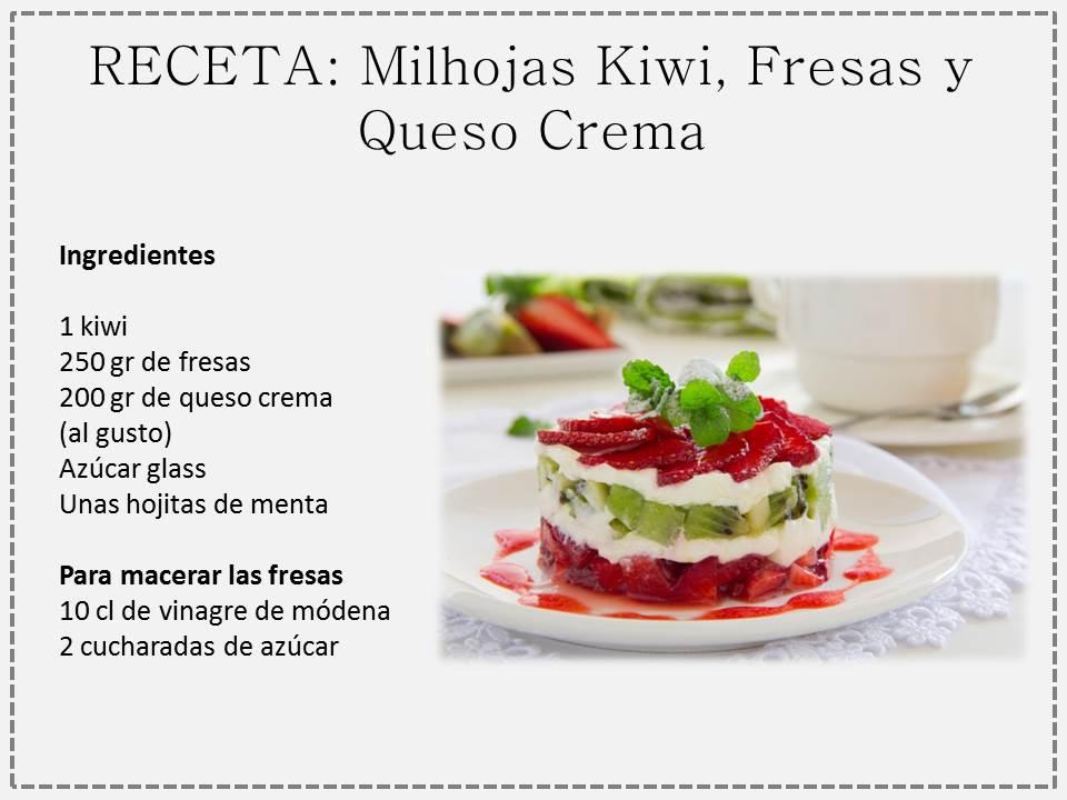 Milhojas de fresas kiwi y queso spanish foods - Rectas de cocina faciles ...