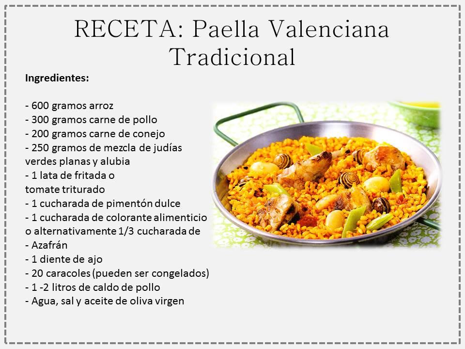 ... la receta original, es decir, de PAELLA Valenciana Tradicional